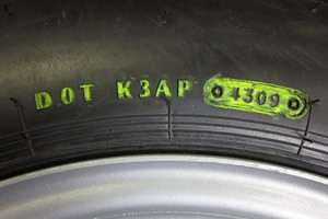 Tire manufacture date is listed as a 4 digit code at the end of the DOT number. The first two numbers are the week of the year they were manufactured, the second two numbers are the year they were manufactured. Photo Credit: RecStuff.com
