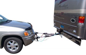 Rv towing an SUV