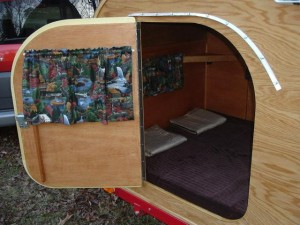 The inside of Scott's teardrop trailer.