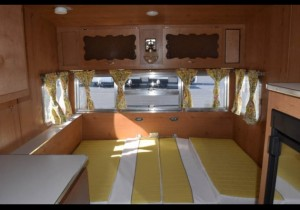 1961 Shasta Airflyte butter cup yellow bed dinette