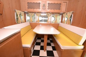 1961 Shasta Airflyte butter cup yellow interior