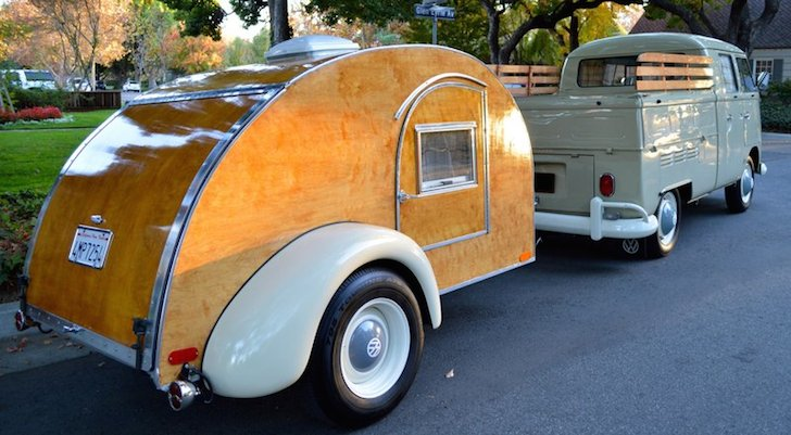 Beautiful-teardrop-camper-and-VW-Double-Cab