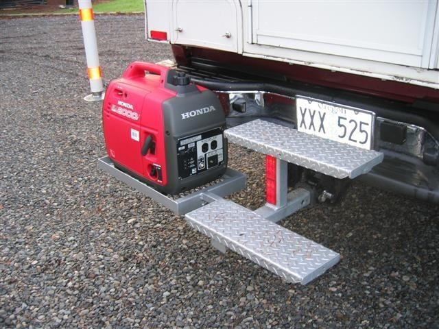 External-generator-rack-on-a-truck-camper