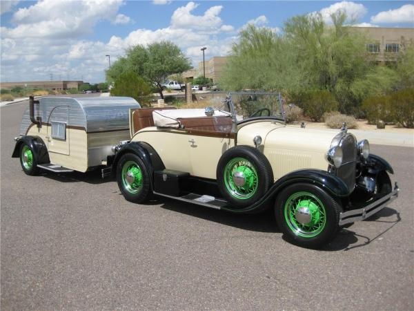 Ford-Model-A-Roadster-with-Teardrop-Camper-1