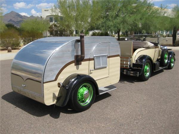 Ford-Model-A-Roadster-with-Teardrop-Camper