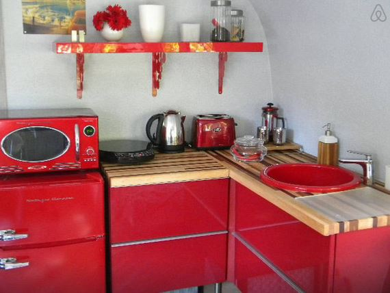 red kitchen 1969 Airstream