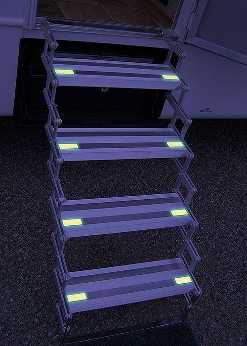 Glow in the dark lights on your steps improve night vision