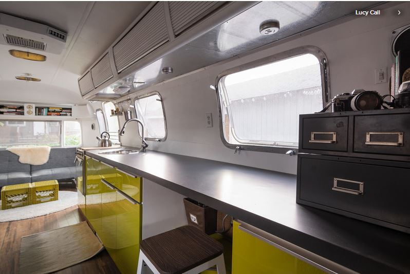 Menzel's Airstream is a functional living space for both he and his 2 year old daughter