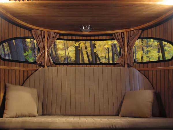 The couch in the Raindrop converts into two bunk beds.