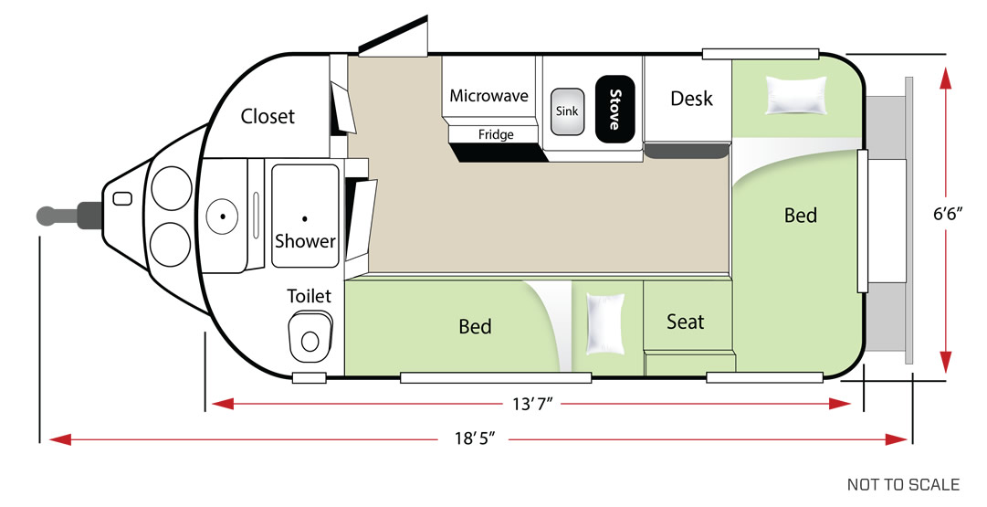 Twin bed floor plan in sleep mode