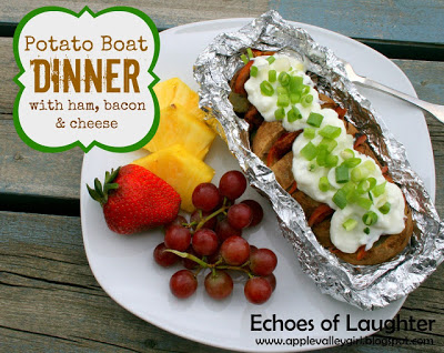Camping Recipes Potato Boat Dinner with Ham, Bacon & Cheese