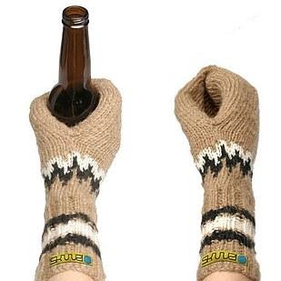 glove beer koozie